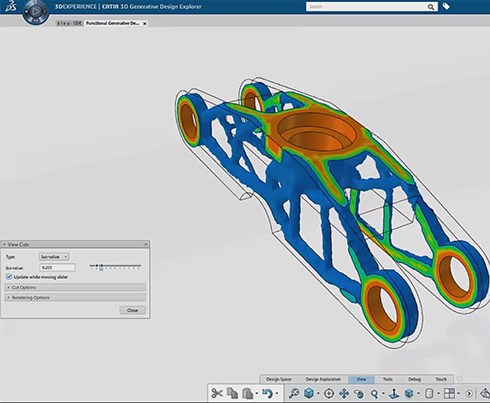 Bleu car hinge part in CATIA
