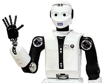 REEM-C de PAL Robotics saludando a la cámara